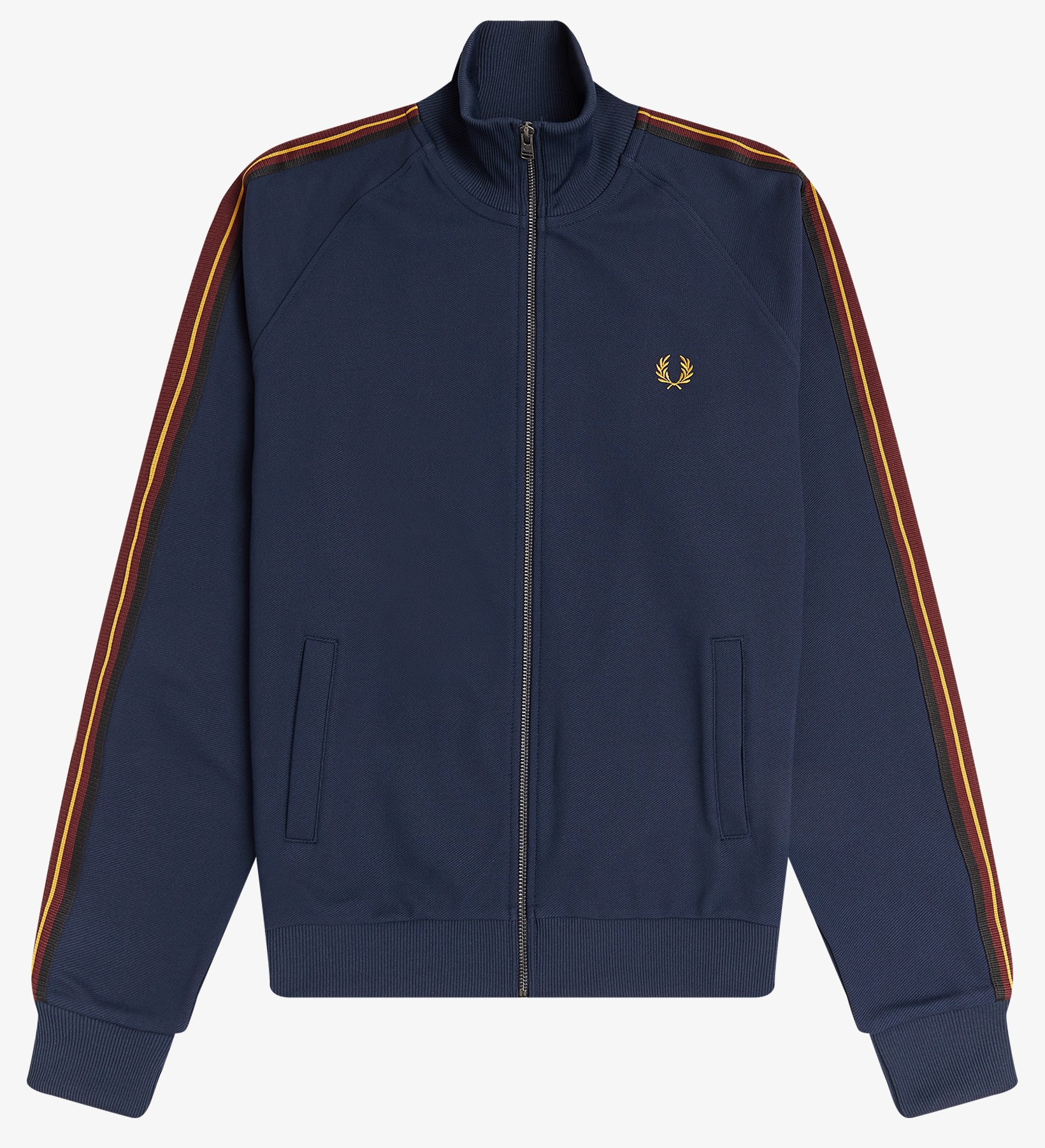 Fred Perry - STRIPED TAPE TRACK JACKET - Dark Carbon