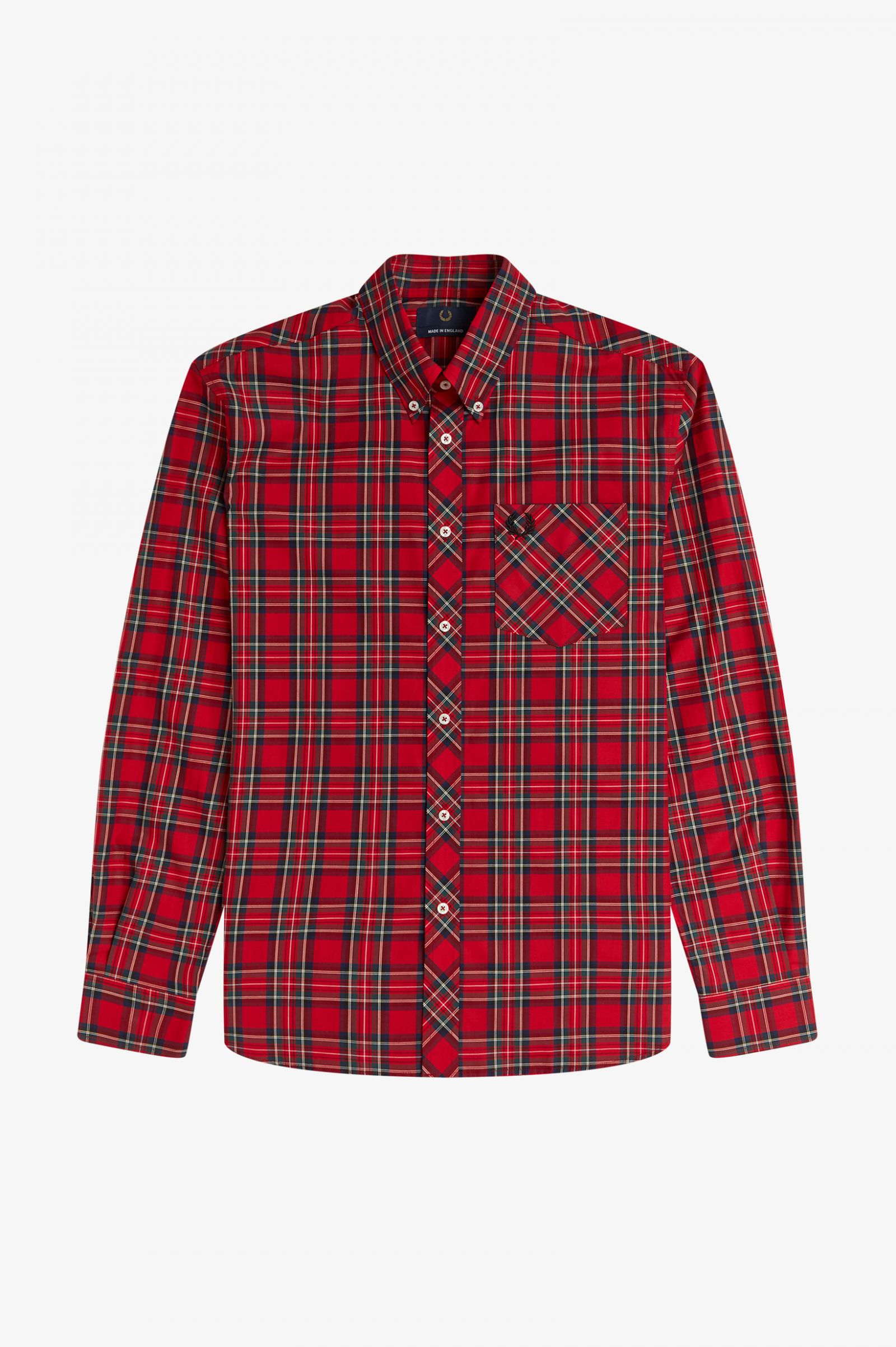Fred Perry - L/S TARTAN SHIRT - Red