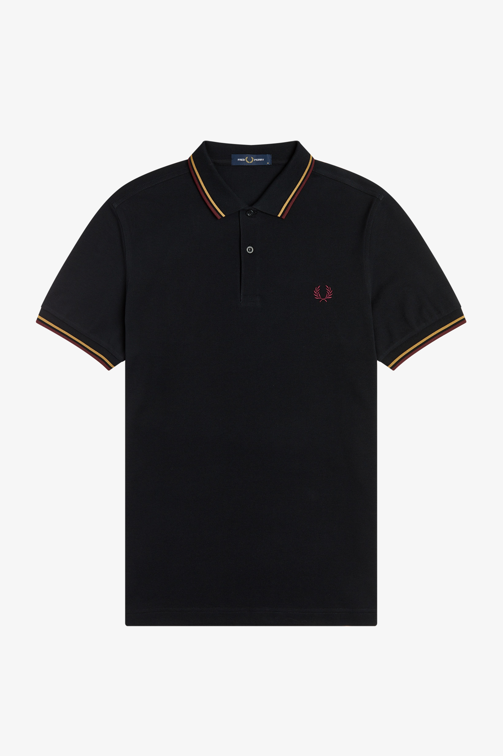 Fred Perry - TWIN TIPPED POLO SHIRT - Black/1964 Gold/ Aubergine