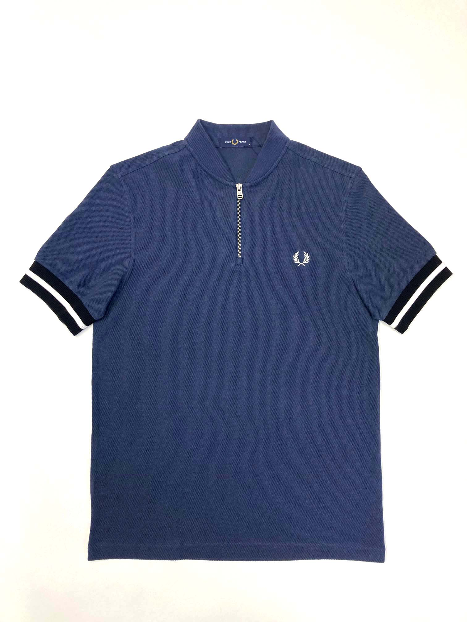 Fred Perry - TIPPED CUFF ZIP NECK POLO - Dark Airforce